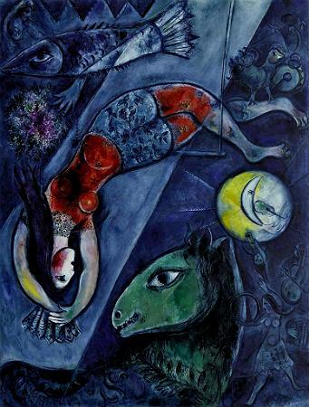 El circo azul, 1950  de Marc Chagall (Vitebsk, 1887 - Saint-Paul-de-Vence, 1985)
